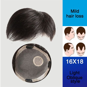 WTB Topper Toupee Hairpiece Clip In One Piece Hair Extension Synthetic Hair with Bangs for Men Natural Black Fashion Airpalne