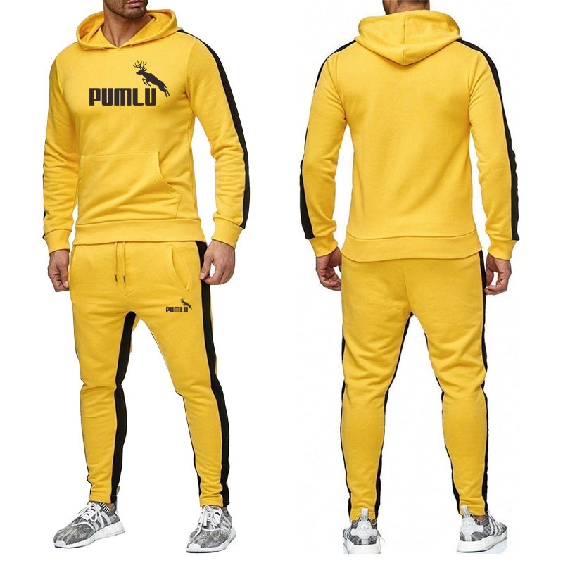 New 2020  Summer Autumn Fashion Sports Summer Autumn Set Men's Round Neck Hat Casual Sports Men's Hooded Sweater Trousers Set