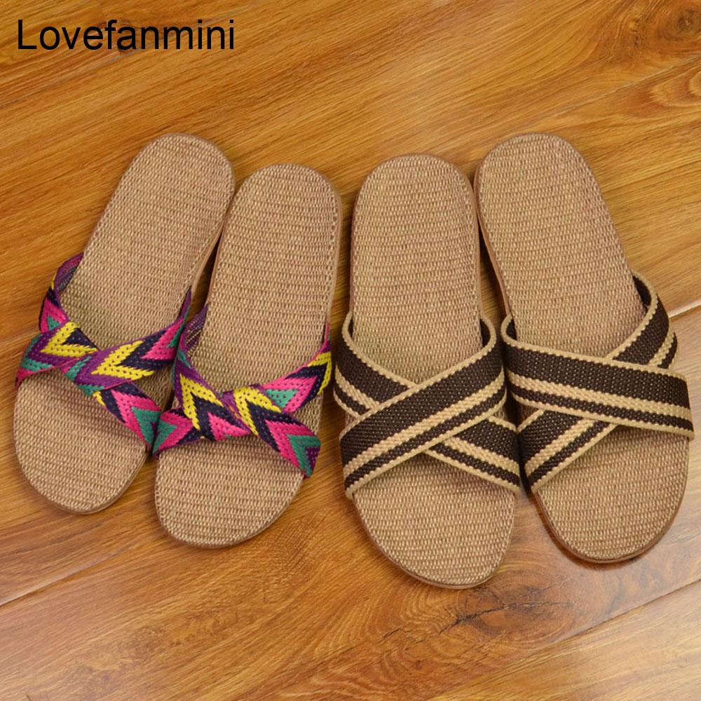 Sandálias de linho natural unissex, chinelos de linho para casa, homens, unissex, primavera e outono, para pouso, hóspedes deslizamento 522