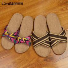 linen slippers summer home indoor sandals Women men's unisex spring autumn couples guests flax Casual Slides Multi-style Female