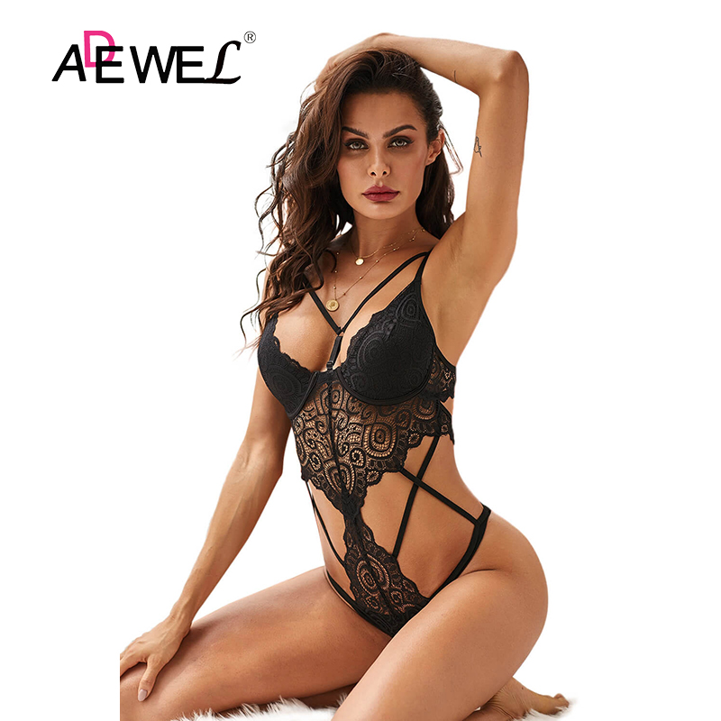 ADEWEL Lace Bodysuit Female Body Hot Sexy Hollow Out 2020 Bandage Women Deep V Black Push Up Bodysuit Backless Sexy Women Tops