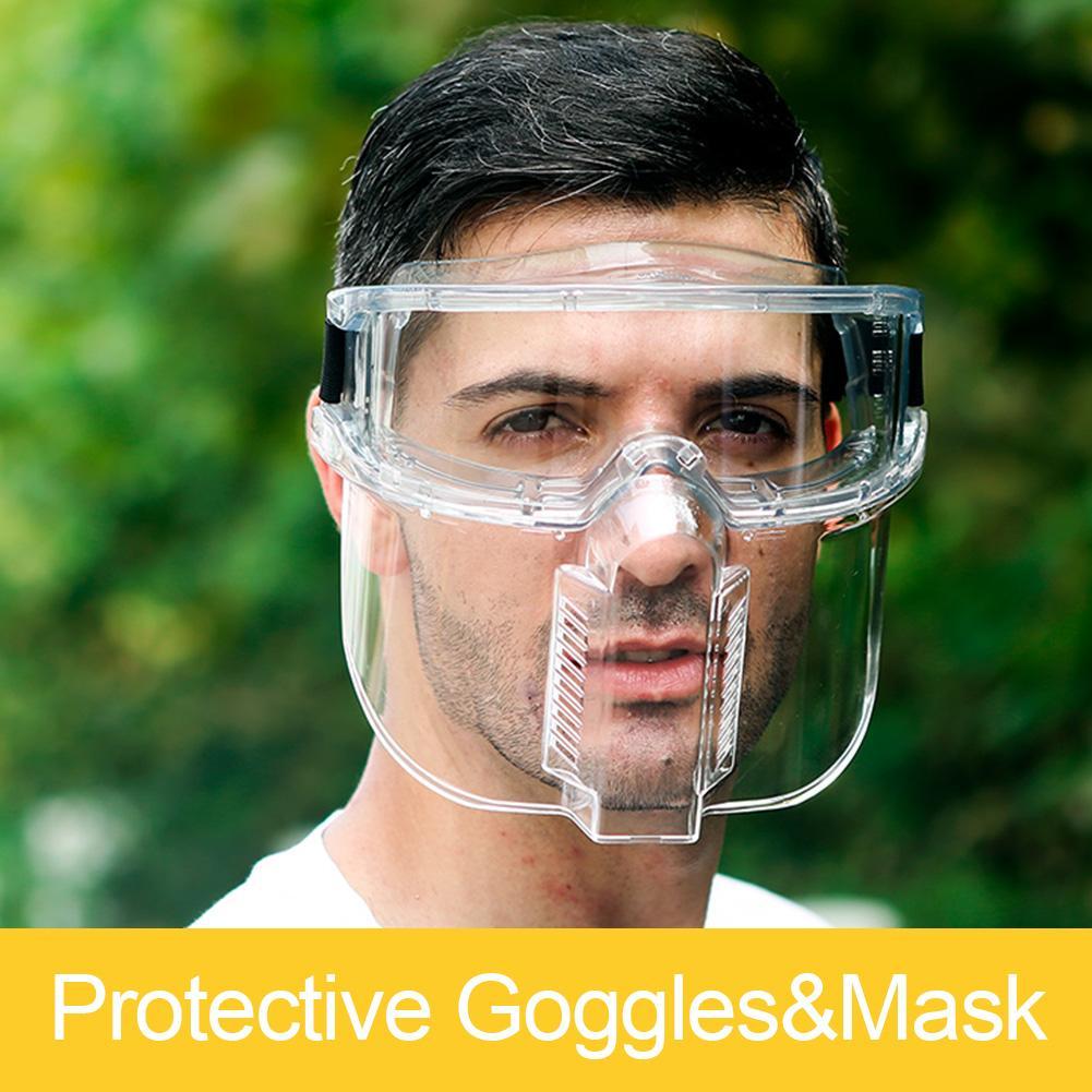 Transparent Protective Face Shield Safety Painting Face Protection Oil-Splash Saliva Proof Masks Separable Eyeglasses Eyepiece