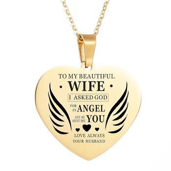 Moda miłość serce do mojej pięknej Collier żona list naszyjnik wisiorek długi łańcuch naszyjnik kobiety prezent Kolye Drop shipping