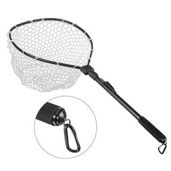 Fast Folding Hand Net Fishing Fly Fishing Net Fly Fishing Net Fish Landing Net Trout Bass Net Rubber Mesh Catch Release Net фото