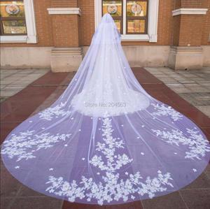 Image 1 - Impresionante velo de novia de dos capas de encaje de lujo con flores, velos de novia de 4 metros de largo con peine M2020