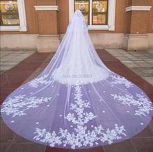 Prachtige Twee Layer Luxe Kant Bruiloft Sluier Met Bloemen 4 Meter Lange Bridal Veils Met Kam M2020