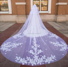 Stunning Due Strato Del Merletto di Lusso Velo Da Sposa con Fiori 4 Metri di Lunghezza Veli da sposa con Pettine M2020