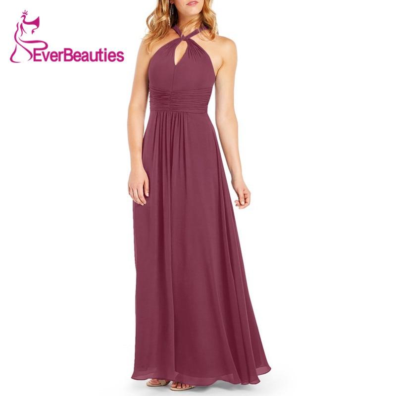 Wedding Guest Dress Burgundy Dress Party Dress Halter Bridesmaid Dresses Vestido Madrinha Chiffon Sukienka Vestidos De Festa