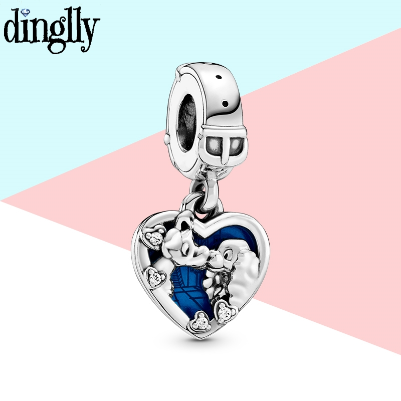 2pcs Anime Theme Silver Color Dog Lady Tramp Heart Charm Fit Brands Bracelet Bangle Original Necklace Women Jewelry Accessory(China)