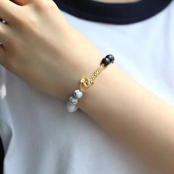 Classic Turquoise Custom Name Bracelet Natural Stone Personalized Bracelets for Women Jewelry Armband men bracelet stylish square fake turquoise bead bracelet for women