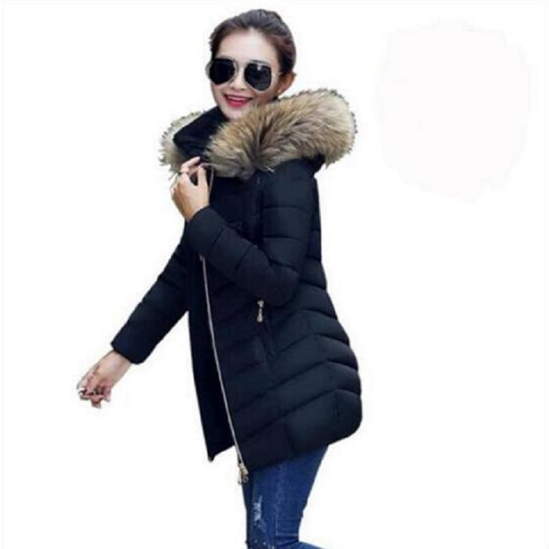 Women's Winter New Fur Coat 2019 Fashion Quality Female Raccoon Fur Imitation Collar Warm Long Coat Thick Women's Down Jacket