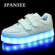 Size 25-35 LED Shoes for Kids Girls Boys USB Charge Glowing