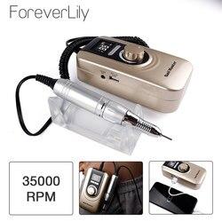 Портативная пилка для ногтей, маникюрный набор, 35000 об/мин, ручка для ногтей, набор с европейской вилкой, аккумулятор, портативная машинка дл...