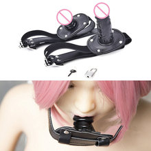 Cute Solid Leather Harness Mouth Silicone Penis Mouth Ball Gag BDSM Mouth Plug Couples Flirting Sex Products Toys Adult Games(China)