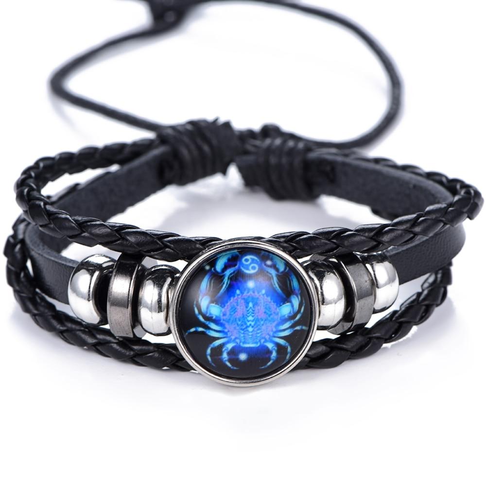 12 Constellation Luminous Bracelet men Leather Bracelet Charms Bracelets Aries Pisces Aquarius Leo Scorpio Libra Gemini jewelry 5