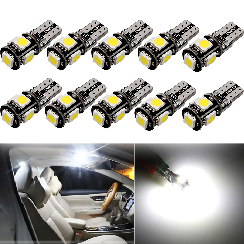 10 x W5W T10 LED Bulb Car Interior Dome Light For <font><b>Toyota</b></font> C-HR CHR <font><b>RAV4</b></font> Camry Corolla 2016 2017 2018 Accessories Auto Luggage Trunk Compartment Lamp image