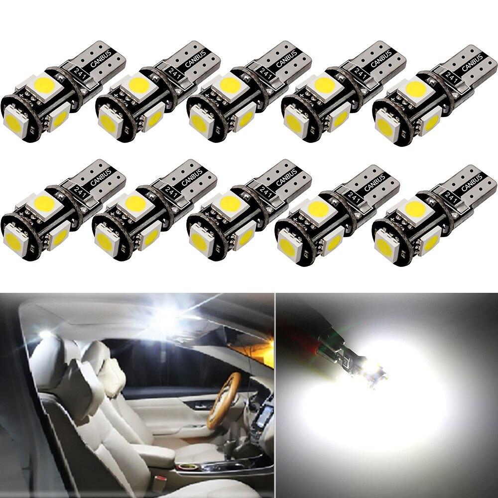 10x W5W T10 LED Bulb 2825 Car Interior Lights Error Free For Peugeot 4008 5008 307 206 308 407 207 406 208 3008 2008 508 408 306