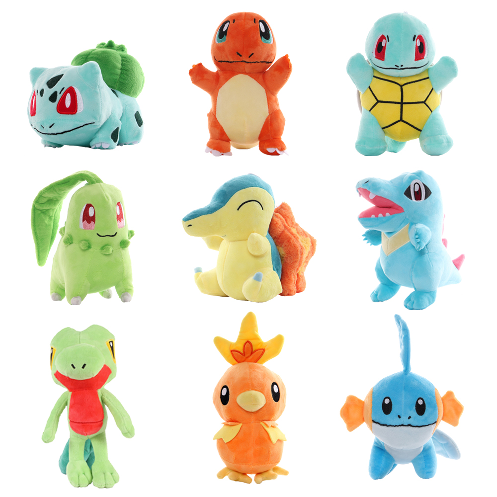 Plush Toy 3 Combination Peluche Pikachu Charmander Bulbasaur Squirtle Cute Soft Stuffed Dolls For Kids Christmas Collection Gift