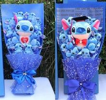 Мультяшная плюшевая кукла Лило Ститч игрушки букет розы Подарочная коробка Ститч мягкие набивные куклы Стич Плюшевые букеты для детей пода...