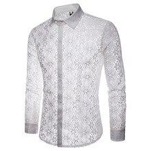 Кружевная рубашка с цветочной вышивкой, мужские Новые прозрачные сексуальные рубашки, мужские вечерние Клубные черные рубашки