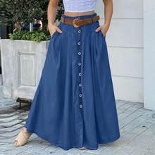 Grande taille femmes printemps Robe d'été 2021 ZANZEA élégant bouton Maxi jupes décontracté taille haute longue Vestidos Femme solide Robe Femme