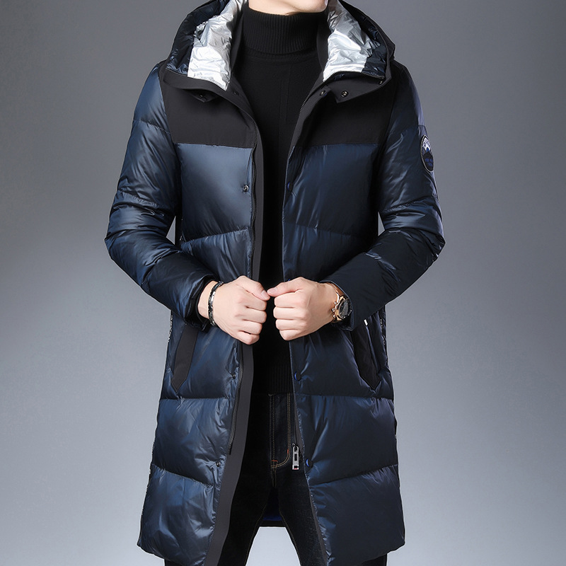 High Quality Men Winter White Goose Down Parka Thick Warm Hooded Outwear Black Glossy Men's Down Coat Men's Down Jacket