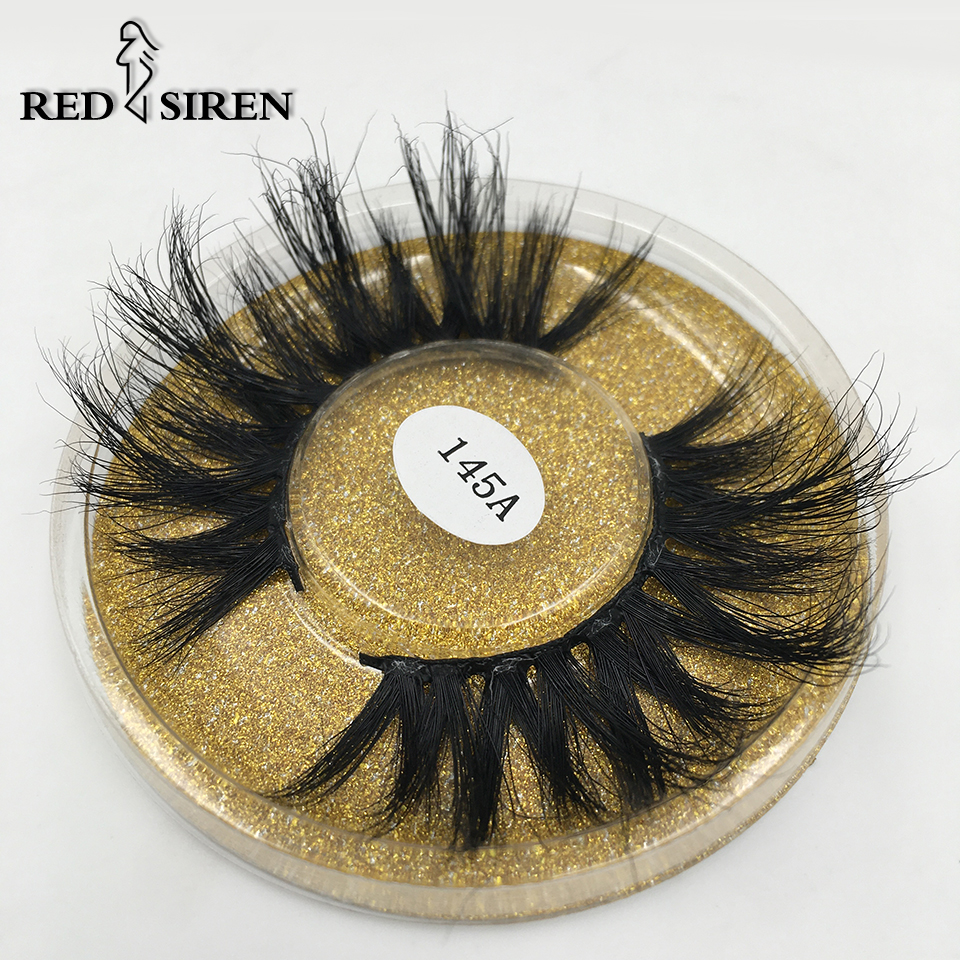 RED SIREN 25mm Long Mink Lashes 100% Cruelty Free Lashes 3D REAL MINK Handmade Reusable Natural Eyelash False Lashes Makeup