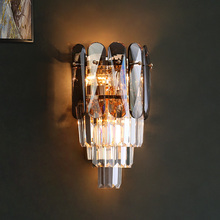 New crystal wall lamp living room wall lamp bedroom bedside lamp smoke gray LED crystal lamp crystal wall lamp wall lights sconce bedroom bedside lamp candle double wall lamp for bedroom living room restaurant beside lamp