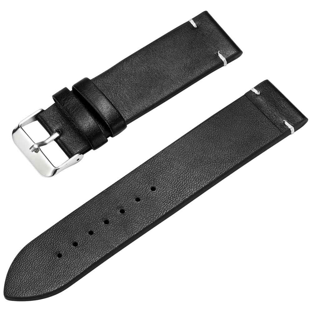 นาฬิกา Faux หนังสายนาฬิกา 18 มม.20 มม.22 มม.นาฬิกาข้อมือผู้ชายสีน้ำตาลสีดำสีน้ำตาลเข็มขัดสีเหลืองสร้อยข้อมือ DOM