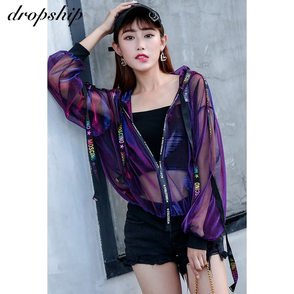 Dropship Coat Women Jackets Harajuku Coats And Jacket Streetwear Windbreaker 2019 Loose Ribbon Baseball Uniform Sun Summer