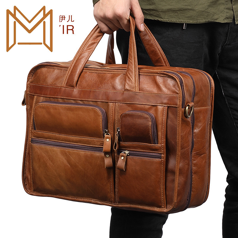 Leisure Time Genuine Leather Man Briefcase 15.6 Inch Business Affairs Handbag Single Shoulder Satchel Cowhide Male Package