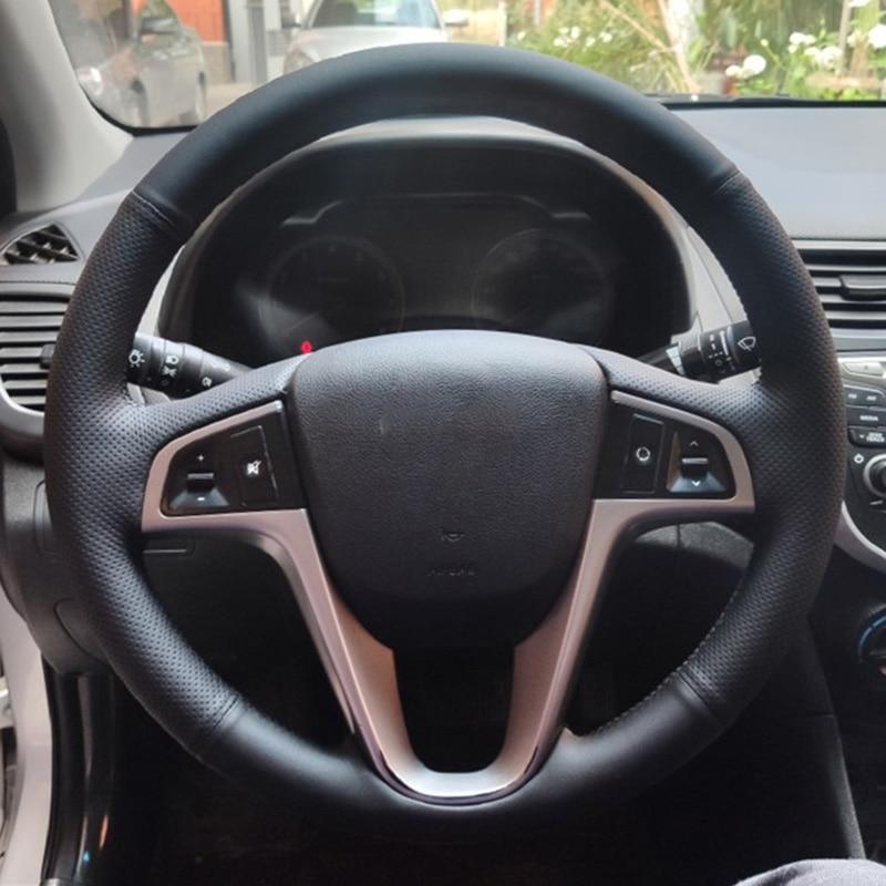 DIY заказной чехол рулевого колеса автомобиля из искусственной кожи для Hyundai Solaris Verna i20 i25 Accent 2008 2014 седан хэтчбек Чехлы на руль      АлиЭкспресс