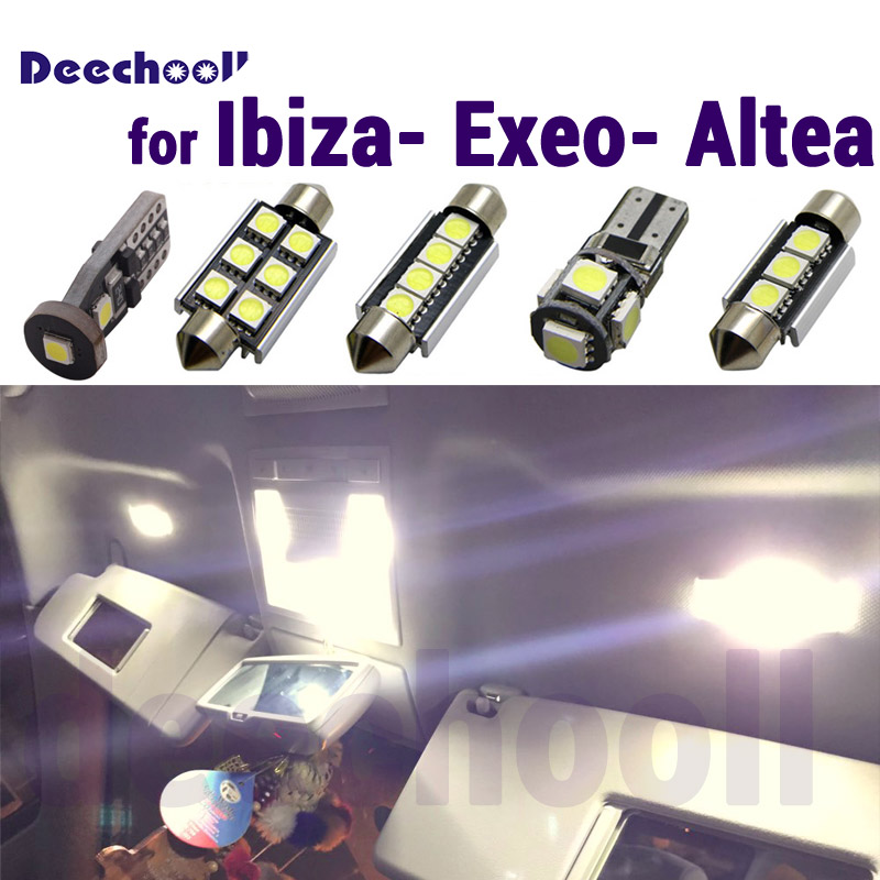 Pure White Error Free LED Interior Reading dome map Lights <font><b>bulb</b></font> Kit for Seat Accessories for Ibiza 6L 6J Exeo Altea XL 2002-2015 image