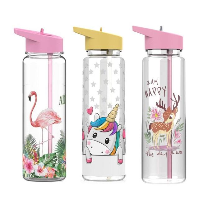 750ml/25oz 100%Tritan Sports Outdoor Straw Water Bottle With Flamingos&Unicorn Printing My Drink Juice Handle Straw Kettle