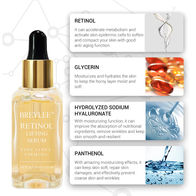 BREYLEE Retinol Lifting Firming Serum Collagen Face Facial Essence Remove Wrinkles  Fade Fine Lines Anti Aging Skin Care 10PCS