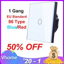 Vhome 1 gang 1 yollu dokunmatik anahtarı kristal cam Panel LED ışık dokunmatik ekran anahtarı ab İngiltere 220V lamba dokunmatik sensör duvar anahtarı