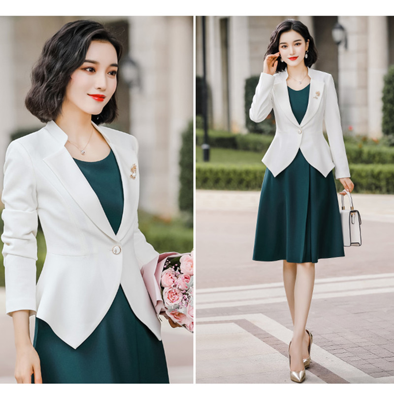 Blazer Dress Suit Woman 2020 Spring High Quality White Jacket Green Knee Length Dress women 2 Piece Set Femme Work Clothes