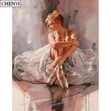 Chenyi алмазная живопись девушка балет танцор полная дрель квадратная