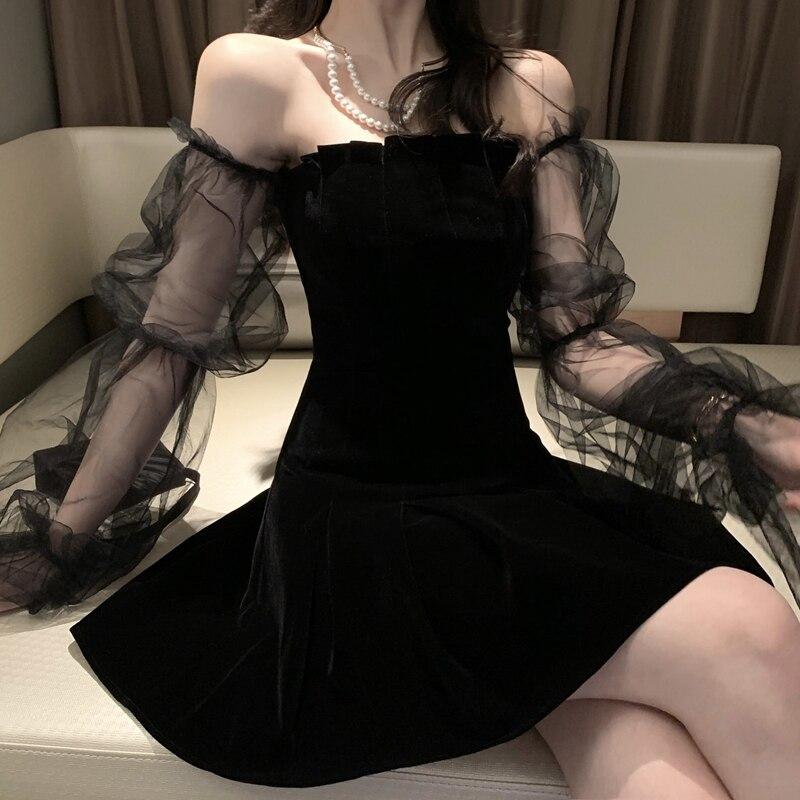 Gothic Sexy Dress Vintage Off Shoulder Lanter Sleeve Mesh Patchwork Velvet Mini Dress Dark Street Grunge Black Dress For Female