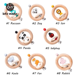 Image 2 - Lets Make Baby Toys Rattles For Newborns Bed Bell Wooden Ring 0 12 Months Beech 1PC Animal Panda Wood Teether Educational Toys