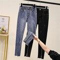 Frühling Neue Zerkratzt Jeans Frau Stretch Dünne Bleistift Hosen Femme Plus Größe Knöchel Länge Hosen Mujer Zipper Fly Denim 5XL 2021