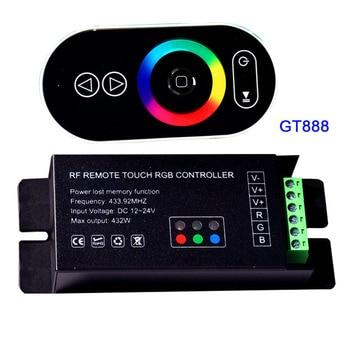 цена на Wholesale 1 pcs DC12-24V 6Ax3channel 18A led dimmer GT888 RF remote touch RGB led controller for 5050 RGB led strip lights