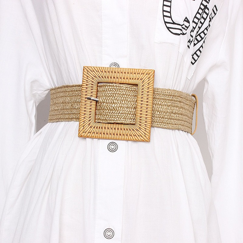 2020 Summer New Women's Beach Bohemia Elastic Belt Girdle Square Bucklet Braided Belt Summer Dress Women Korean Fashion Strap