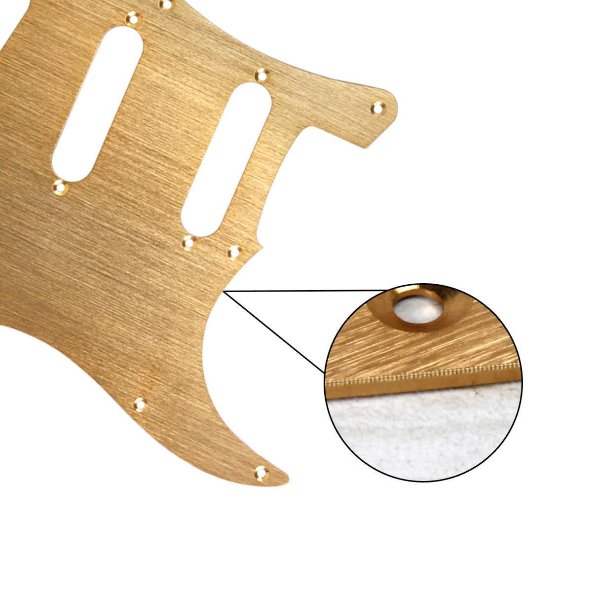 FLEOR Gold Metal Pickguard 11 Hole SSS Electric Guitar Pick Guard Scratch Plate with Screws for Strat Guitar Parts