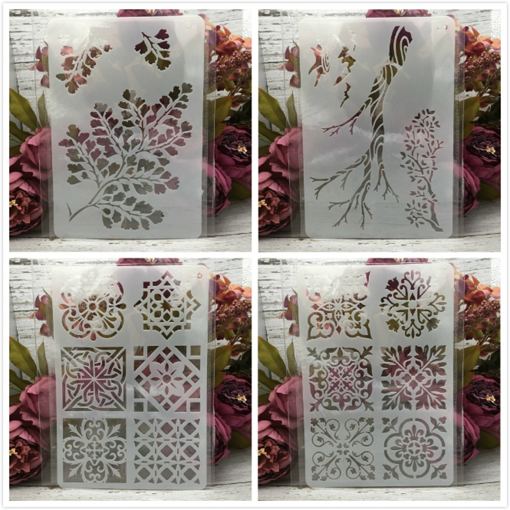 4Pcs 26*17cm Tree Branch Frame DIY Layering Stencils Wall Painting Scrapbook Coloring Embossing Album Decorative Card Template