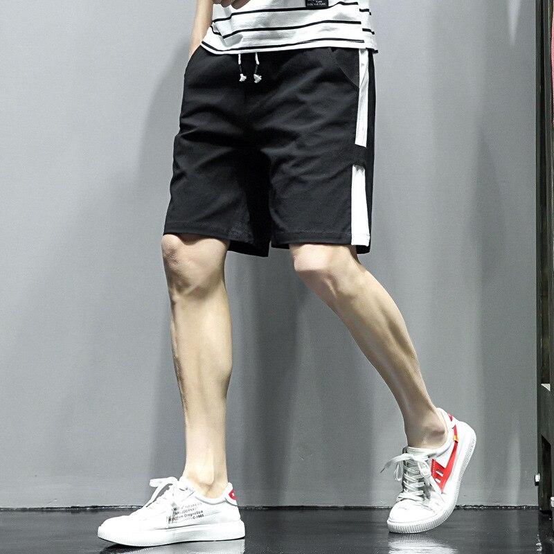 Summer Thin Section Men Stripes Cotton Linen Straight-Cut 5 Pants Pure Cotton Large Size Workwear Versatile Shorts Men's