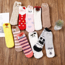 Women and Kid Christmas Socks Cute Animal Design Deer Gift Fluffy Coral Velvet Thick New Year Gift Warm Winter Sock Family Look(China)