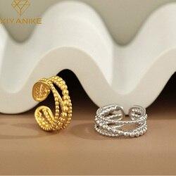 XIYANIKE 925 Sterling Silver koreański INS unikalne krzyżowe wielowarstwowe koraliki otwarty pierścień kobiet dzikie ręcznie modna biżuteria na prezent