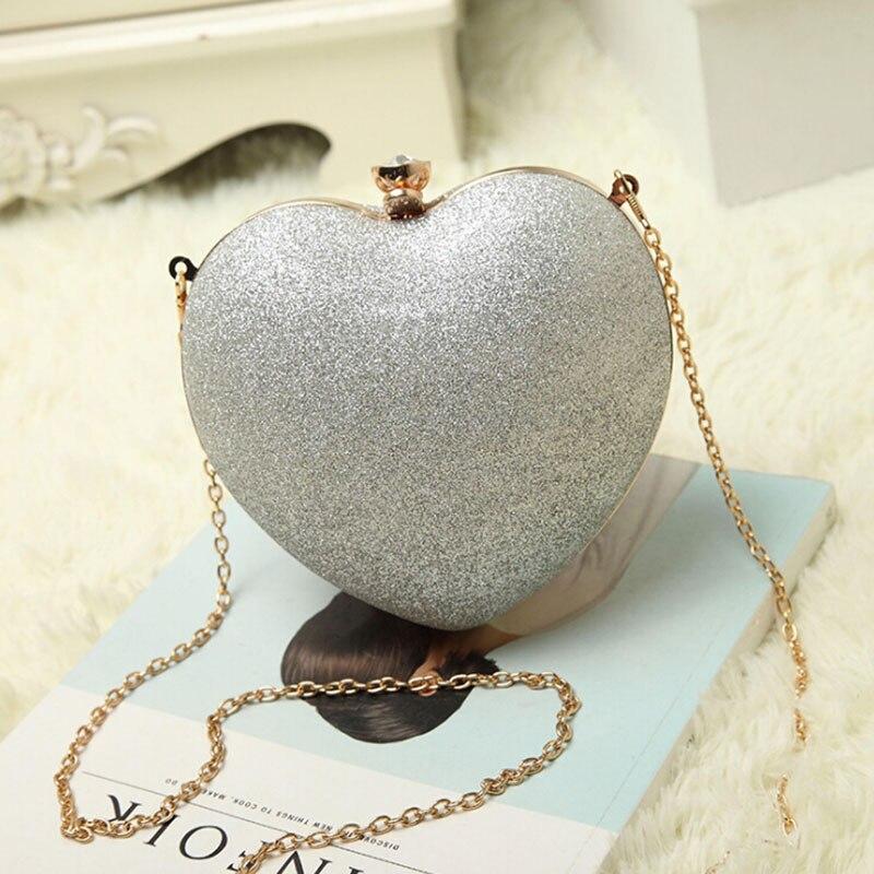 Golden Women Party Clutches Evening Bags Wedding Bag Luxury Glitter Bag Chain Shoulder Bag Heart Designer Bag Luxury Handbags