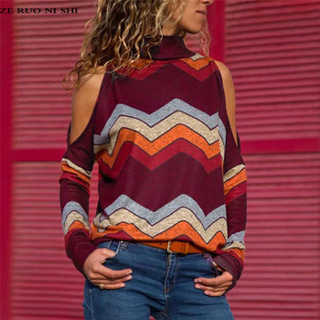 цена на Blusas Camisas Mujer Women's Shirt Sexy Cold Shoulder Top Casual Turtleneck Knitted Top Pullover Print Long Sleeve Shirt
